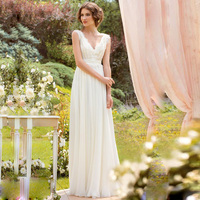Elegant White Simple Beach Wedding Dress Casual V Neck Chiffon Floor Length Boho Wedding Gowns Bride