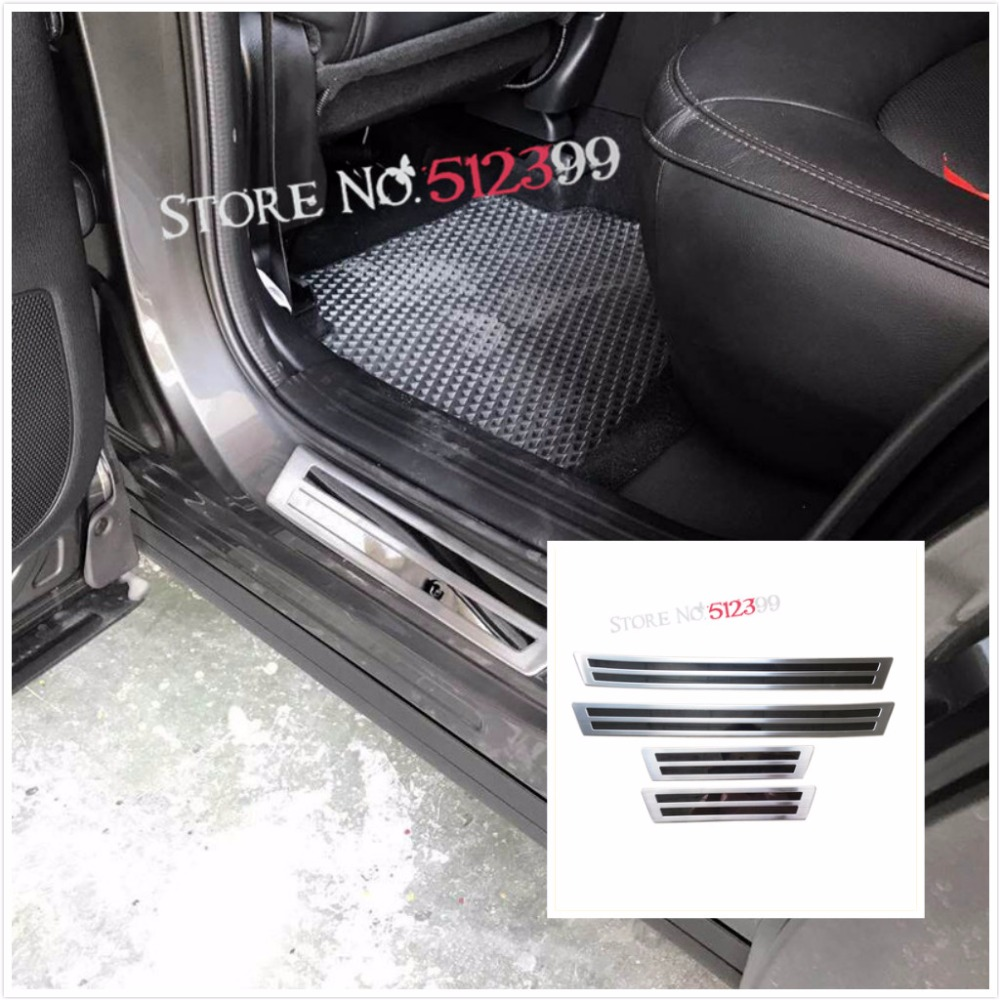 4* Stainless Steel Outer Side Door Sill Threshold Scuff Plates Cover Trim For Mazda CX-5 CX5 2017 2018 Car styling Accessories for mazda cx 5 cx5 2017 2018 2nd gen lhd auto at gear panel stainless steel decoration car covers car stickers car styling