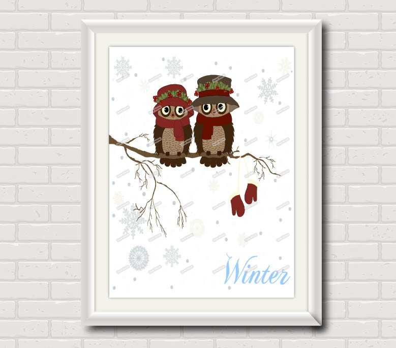 Winter Owl Couple Anniversary Canvas Painting Wall Art