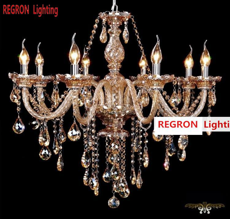Regron Chandelier Amber Color Crystal 8 Lights Chandelier Modern Luxury Hanging Lights For Living Room Villa Banquet Lounge