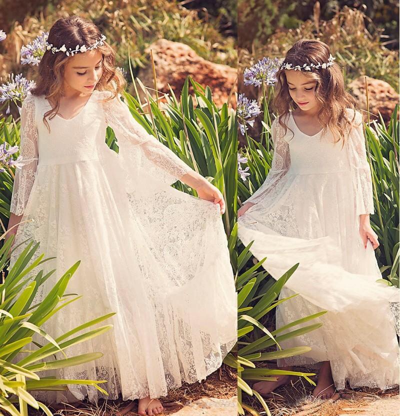 2019 New Beach   Flower     Girl     Dresses   Boho First Communion   Dress   For Little   Girl   V-Neck Long Sleeve A-Line Cheap Kids Wedding