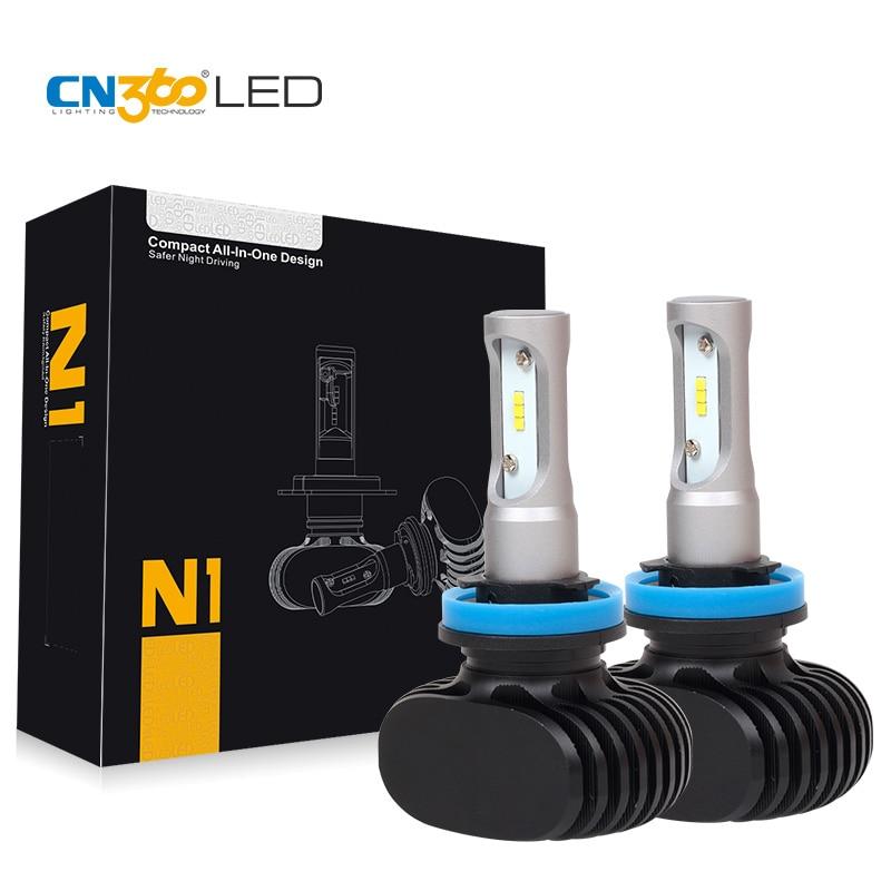 Prix pour CN360 2 PCS 50 W 8000LM H8 H9 H11 LED Phare de Voiture Auto Phare Kit Brouillard Ampoule Tout En Un 12 V 24 V 6500 K Avec CSP LED puces