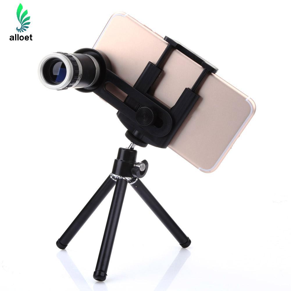 Alloet 8x зум мобильный телефон телеобъектив Штатив Держатель Комплект Мини Монокуляр телескоп с зажимом для IPhone Samsung Xiaomi
