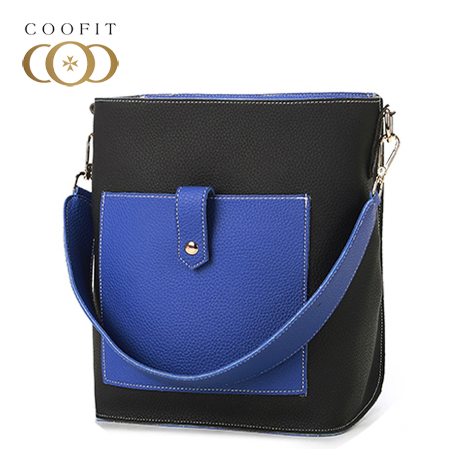 Coofit Hit Color 2-Piece Womens Fashionable PU Leather Handbags Casual Shoulder Bag Tote Bag With a Clutch Wallet For Daily Use
