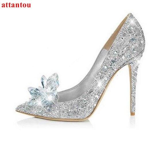 3eafaf0bb Sapatas das mulheres Strass Sapatos De Salto Alto cinderela primiere óculos  deslumbrantes sapatos de casamento sapatos de cristal de prata jóias  glittering ...