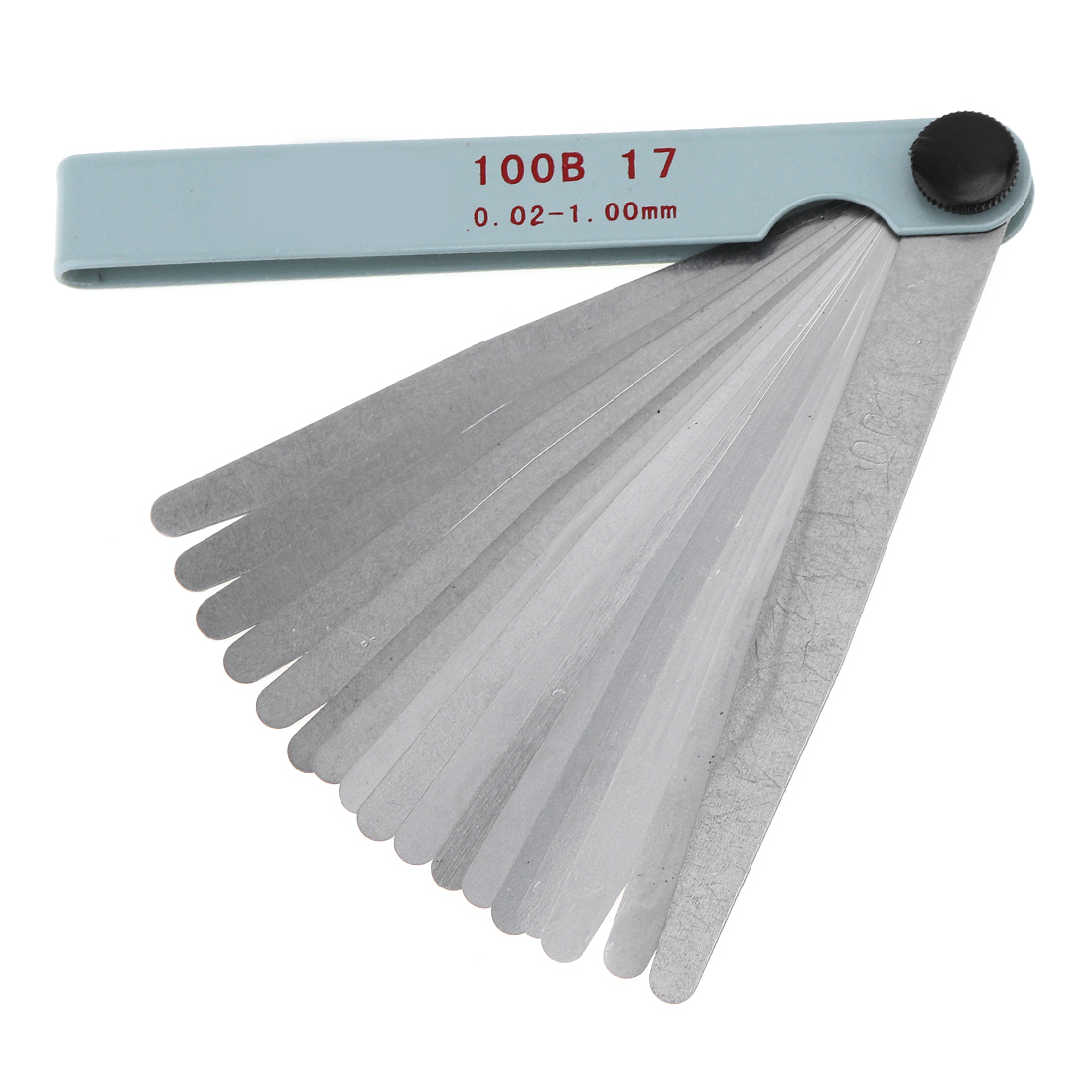 Portable Feeler Gauge 100B 17 Blade Stainless Steel With Adjustable Nut And 0.02 - 1.00mm Measuring Range Measuring Tools