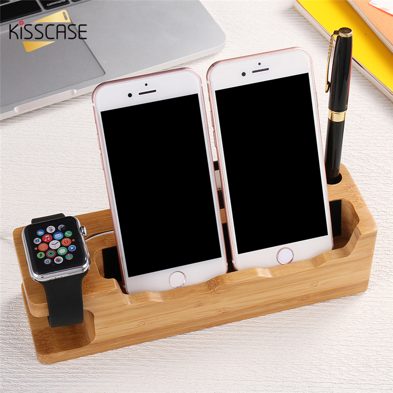 imágenes para Kisscase fresco de madera estación de carga del muelle del teléfono móvil sostenedor de la horquilla para todo apple iphone 7 7 plus 6 6 s más 5 5S se para iWatch