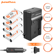 4Pcs NP-BX1 NP BX1 NPBX1 Battery Rechargeable Camera Li-ion Battery+Car charger+charger For Sony DSC-RX100 RX100 HDR-AS15 L20