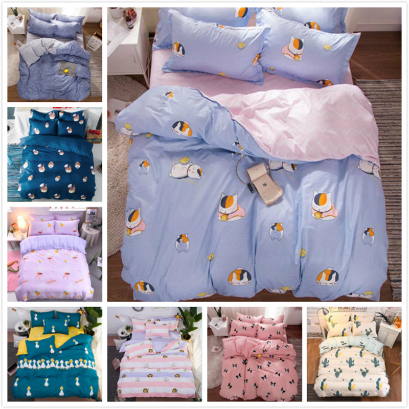 Cat Kitty Dog Animal Pattern 3/4 pcs Bedding Set Kids Boy Girl Student Single Full Twin Queen Size Duvet Cover Cotton Bed Linens