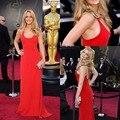 Vermelho 2015 Jennifer Lawrence Sexy Colher Até O Chão Chiffon Backless Celebridade Oscar Vestidos de Lady Mulheres Vestidos BG50540
