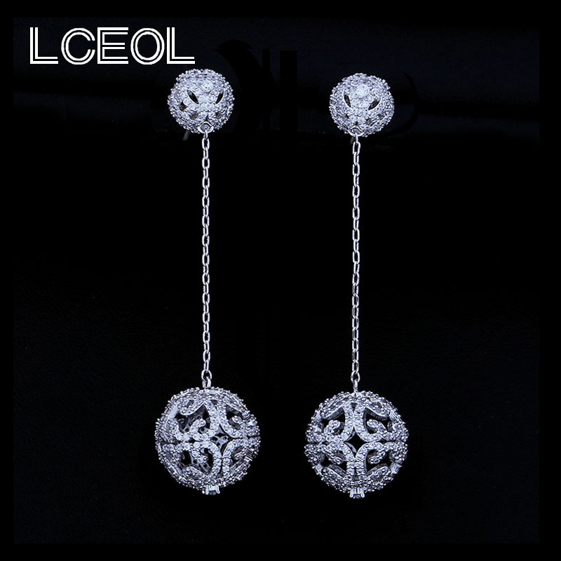 Clip On Earrings Round Circle Cubic Zircon Exquisite Dangle Eardrop Black Holiday