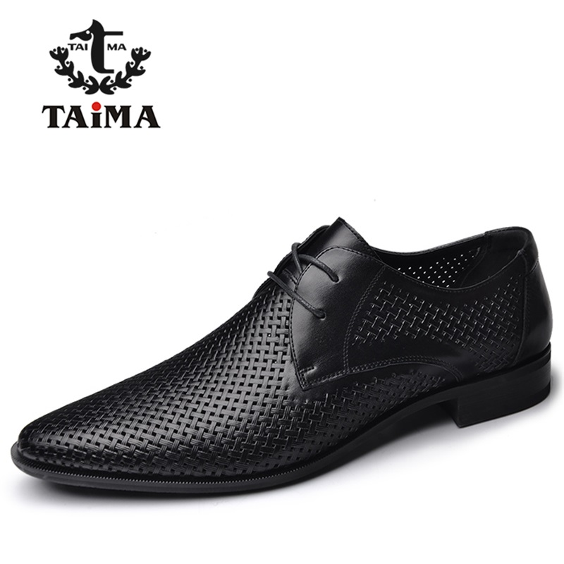 ФОТО New High Quality Genuine Leather Man Business Casual Shoes Man Woven Breathable Hole Gentle man Shoes Brand TAIMA 40-45