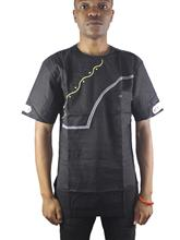 Africa Black Asymmetric Embroidery Men`s Ethnic Cotton Dashiki Shirts for Summer Wearing