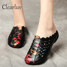 Roman style sexy open toe gladiator sandals women's flat cow leather soft bottom shoes non-slip openwork summer women's shoes