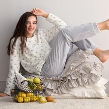two piece 2019 spring winter women ladies fleece Warm soft Flannel heart printed pajamas suit Female