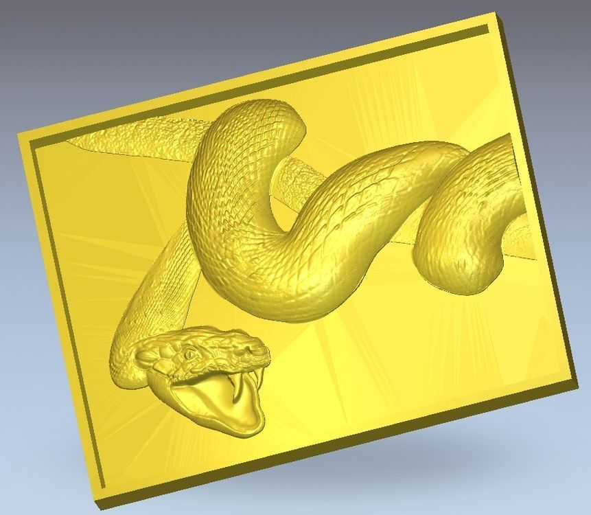 3d Model Relief  For Cnc In STL File Format Panno_Snake_1