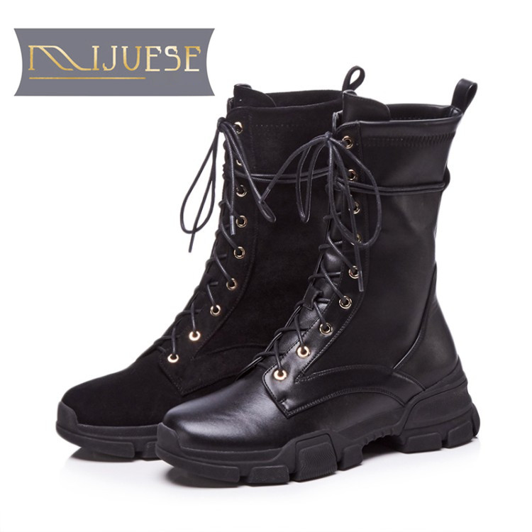 MLJUESE 2019 women Mid calf boots cow leather lace up square toe autumn spring  riding boots strange heel women  bootsMLJUESE 2019 women Mid calf boots cow leather lace up square toe autumn spring  riding boots strange heel women  boots