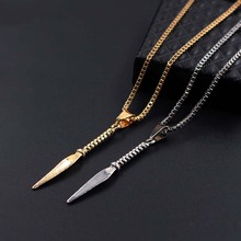 Fashion Gold Silver New Spearhead Attack Shape Pendant Necklaces Mens Womens Jewelry Box Chain xlct039
