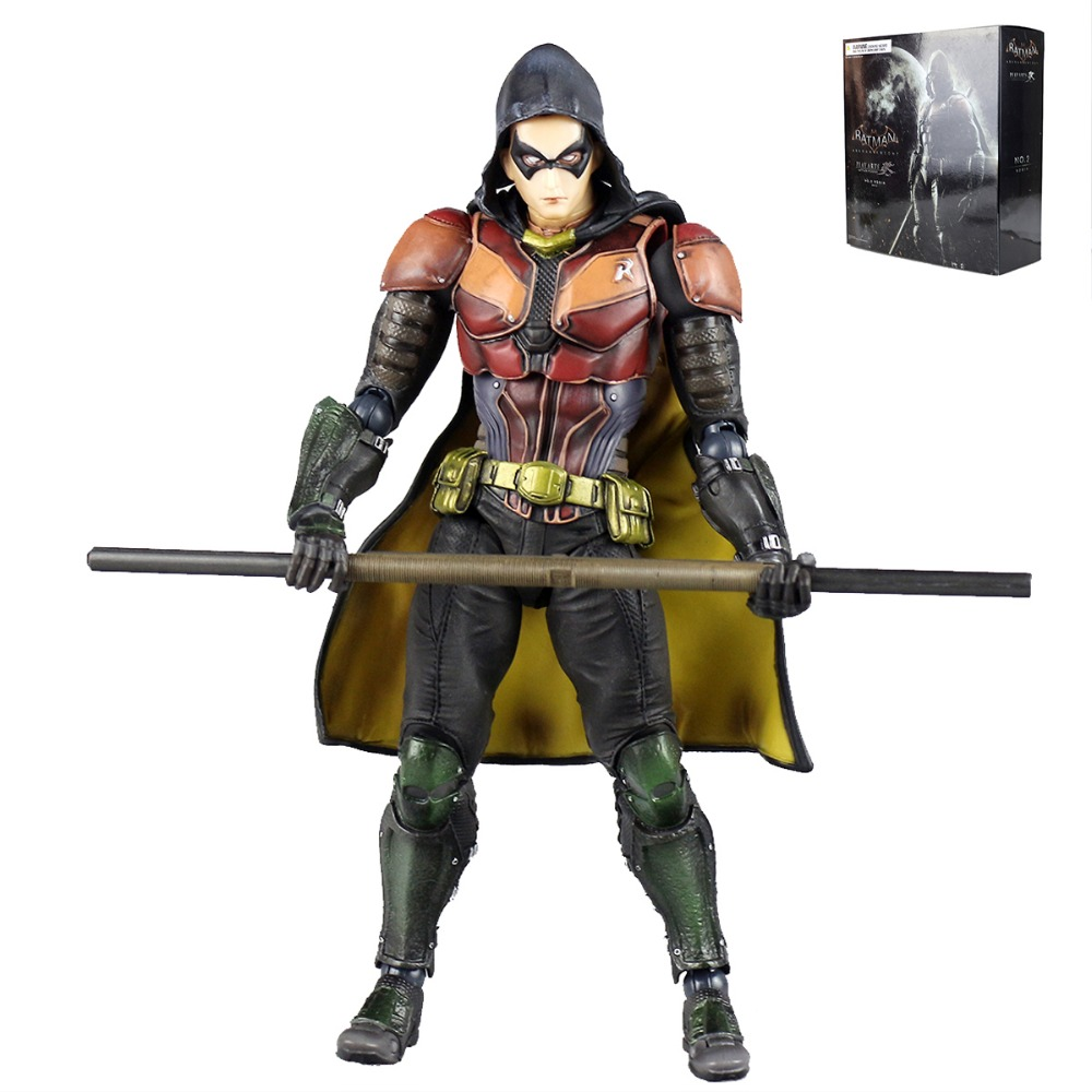 Anime Play Arts KAI Batman Arkham Knight No.2 Robin PVC Action Figure Collectible Model Toy PAK001052 Free Shipping playarts kai batman arkham knight batman blue limited ver superhero pvc action figure collectible model boy s favorite toy 28cm