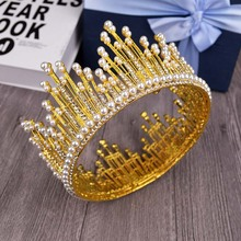 Vintage Gold  Miss Universe Crown For Women Hair Jewelry Pearl crown Gold Crystal Tiara For Wedding Bride Hair Accessories T-736
