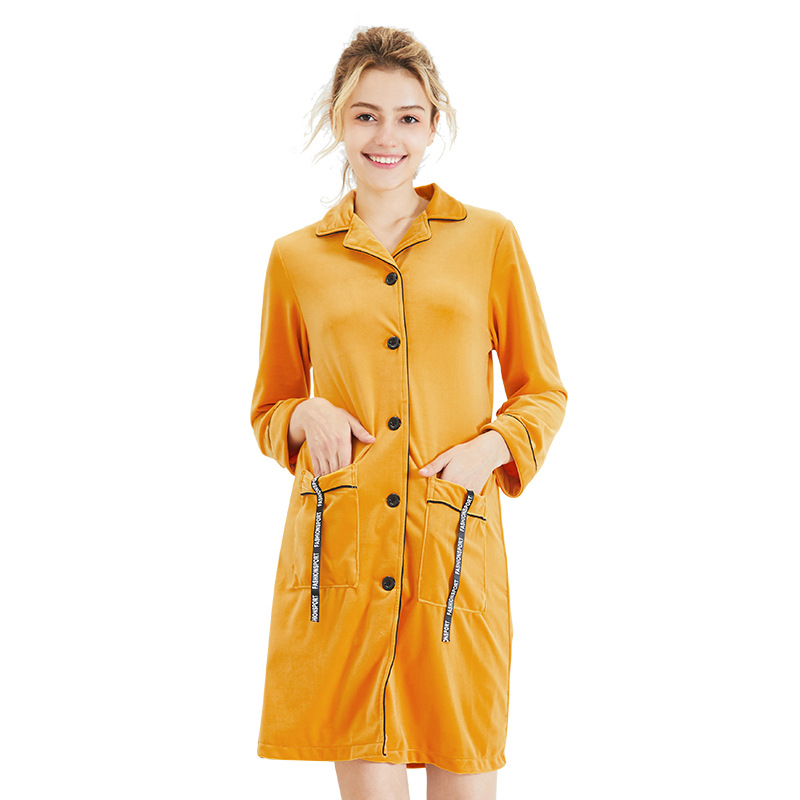 Velvet Pleuche Nightgown ladies autumn and winter Medium-long nightdress long-sleeve Button Pockets Ribbon home Clothes