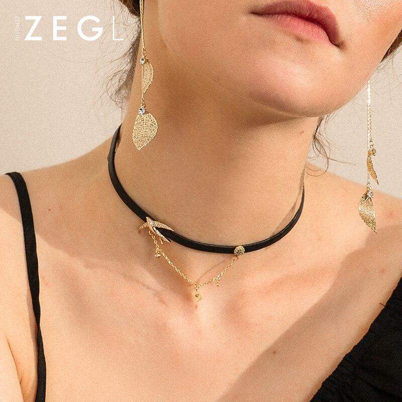 ZEGL designer choker noir clavicule chaîne femme cou bijoux collier hirondelle collier chaîne collier femmes