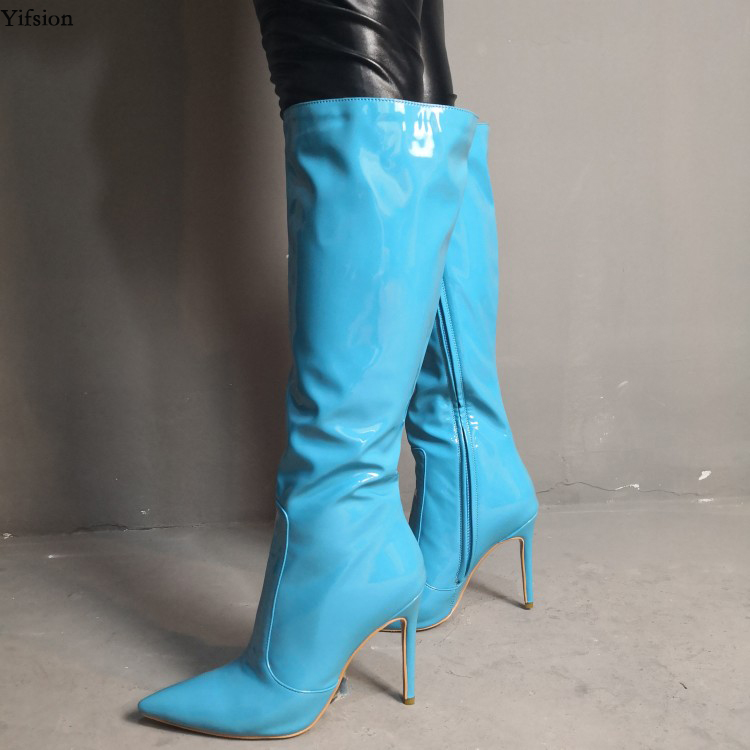 Yifsion New Women Knee High Boots Sexy  Stiletto High Heels Boots Pointed Toe Light Blue Fashion Shoes Women Plus US Size 5-15Yifsion New Women Knee High Boots Sexy  Stiletto High Heels Boots Pointed Toe Light Blue Fashion Shoes Women Plus US Size 5-15