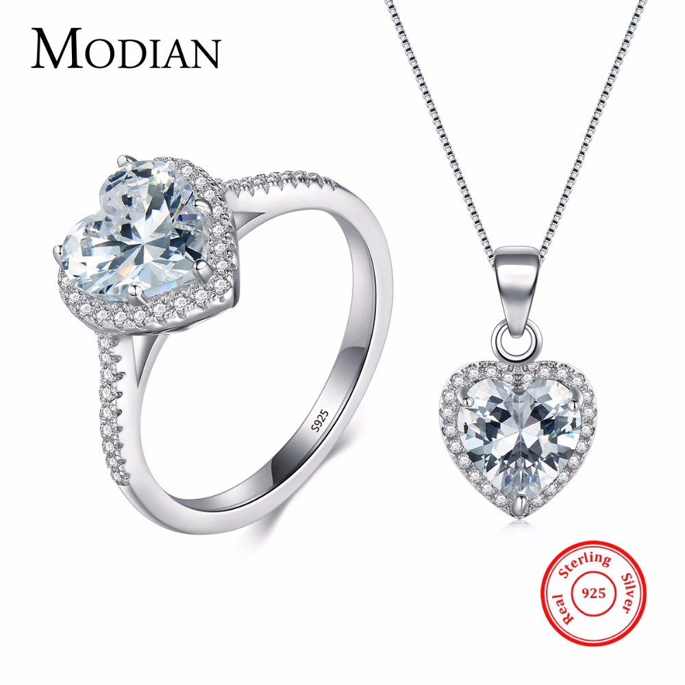 Modian New Design Solid 925 Sterling Silver Sets Jewelry Ring Necklace Wedding Natural Crystal Pendant Fashion Chain For Women viennois new blue crystal fashion rhinestone pendant earrings ring bracelet and long necklace sets for women jewelry sets