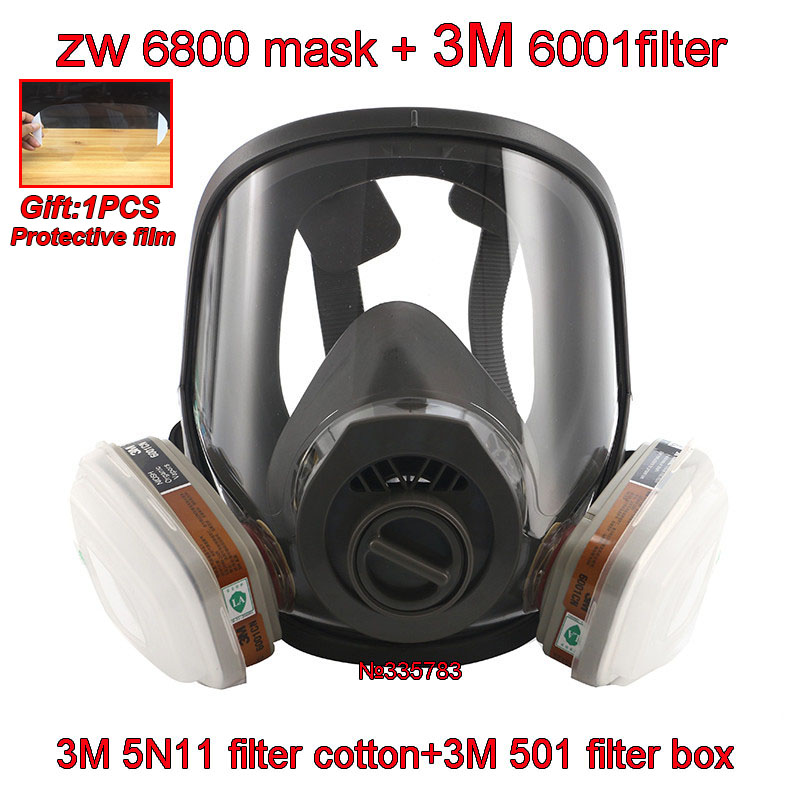3 interface 6800 maske kombination 3 M 6001/SJL filter Mit 3 M 5N11 filter baumwolle/3M501 filter box Atemschutz gas maske