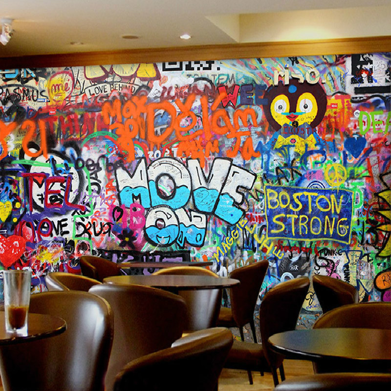 Personality graffiti art continental restaurant lounge bar for Cafe mural wallpaper