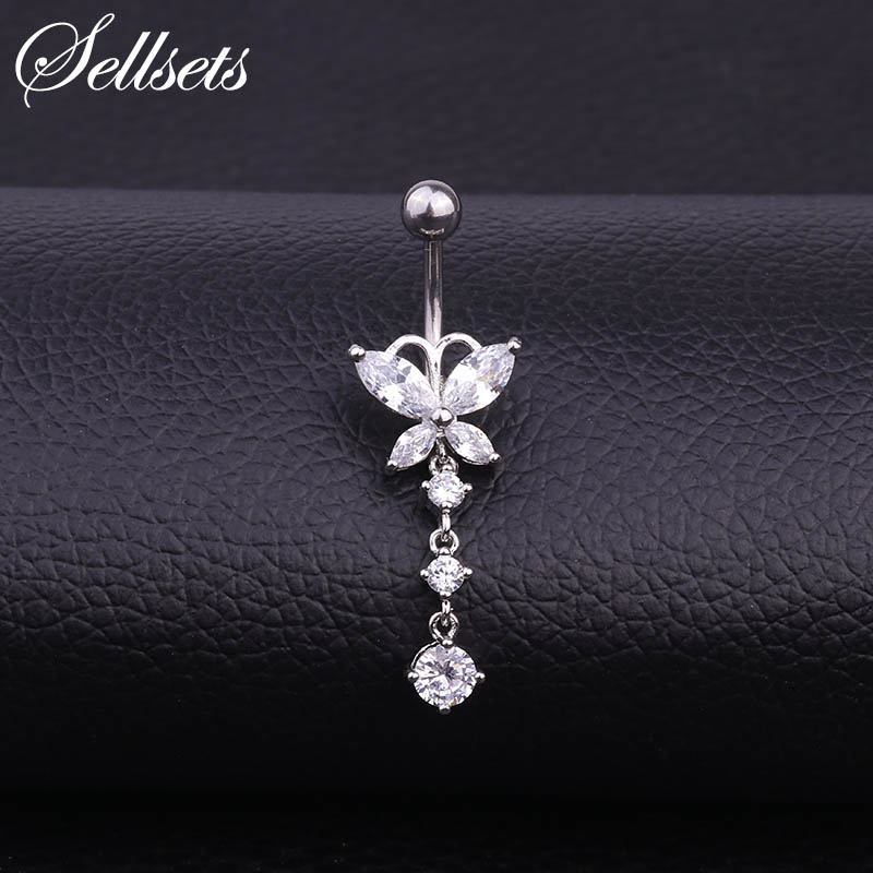Sellsets Sexy Navel Piercing AAA Cubic Zirconia Butterfly Dangle Belly Button Rings Stainless Steel Body Jewelry