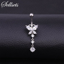 Sellsets AAA Zirconia Butterfly Dangle Belly Button Ring RVS Hanger Navel Bell Piercing Rings Body Jewelry