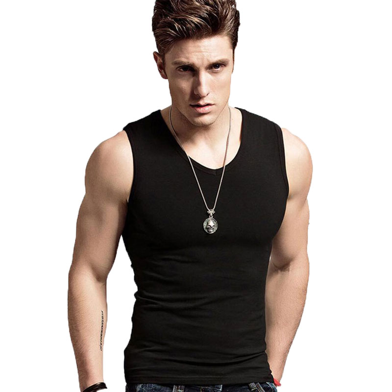 Men Top Tank Tees Summer Sleevess Tank Male tops Shirt Short Bodybuilding Cotton O-neck Casual Undershirts Man Clothes Solid