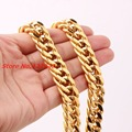 "7-40"" 14mm Heavy Gold Plated Stainless Steel Mens Curb Cuban Chain Necklace / Bracelet  Bangles Charming Design Male Jewelry"