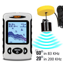 LUCKY FF718D 60 Degree 2.2 CD White LED Wired Sonar Alarm 100M/328FT Depth Fish Finder FF718D 200/80KHz English/ Russian/Deutsch
