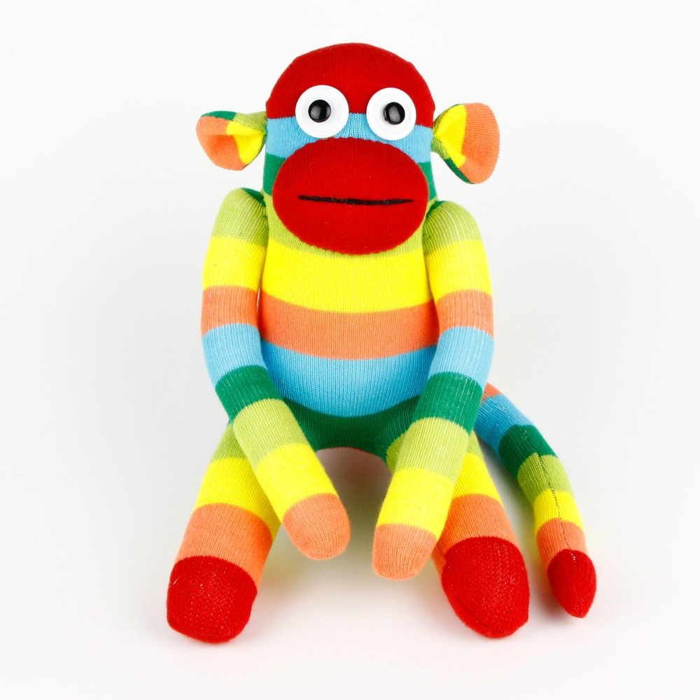 hot Baby Handmade Cute Rainbow Striped Sock Monkey Soft Doll Early Educational Stuffed Animals Toy Gift for kid children Christm 1 pc color random new baby kid cartoon animals fruits dimensional puzzles toy jigsaw puzzles educational toy for children gift