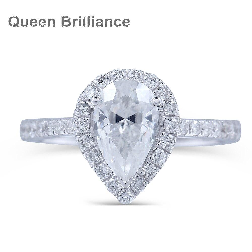 cb5eef5e5428e Real 14 K 585 oro blanco 1 Carat ct Pear Cut Lab crecido Moissanite  diamante anillo de compromiso con Moissanite acento