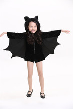 Children Animal Cosplay Cute Bat Costume Kids Halloween Costumes For Girls Black Rompers Jumpsuit Connect Wings Batman Clothes