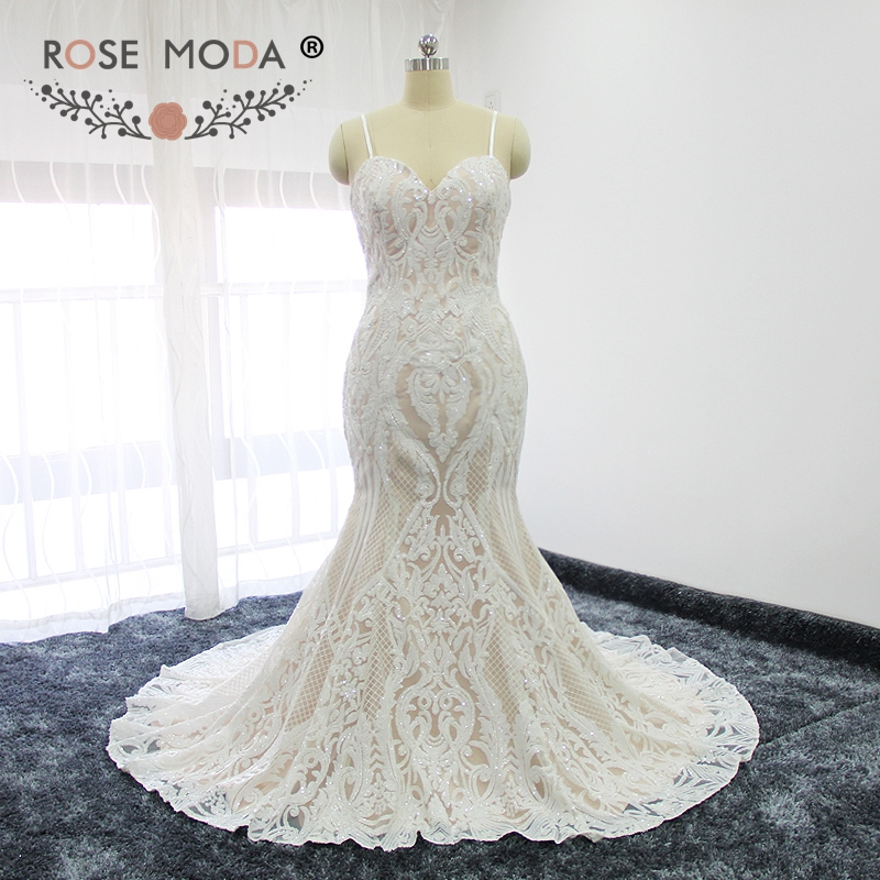 Lace Mermaid Wedding Gown With Straps: Rose Moda Stunning Sequined Lace Mermaid Wedding Dress