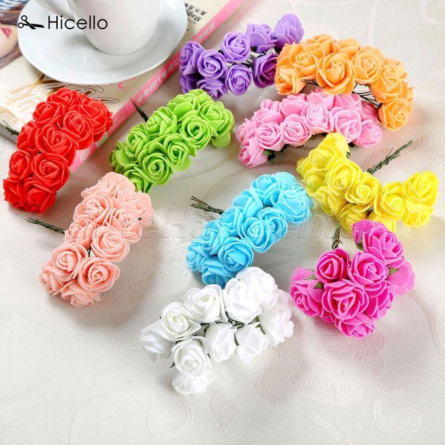 Original Hicello 12pcs Lot Multicolor Pe Rose Foam Flower Wreath