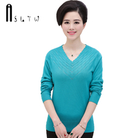 ASLTW Pullover Ladies Sweater New Long Sleeve V Neck Sweater Women 6 Colors Plus Size Bottoming