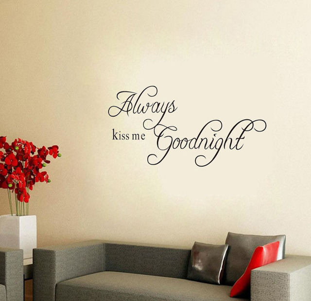 ALWAYS KISS ME GOODNIGHT Vinyl Wall Decal Decor Sticker Art DIY Removable Wall  Stickers Living Room Part 64