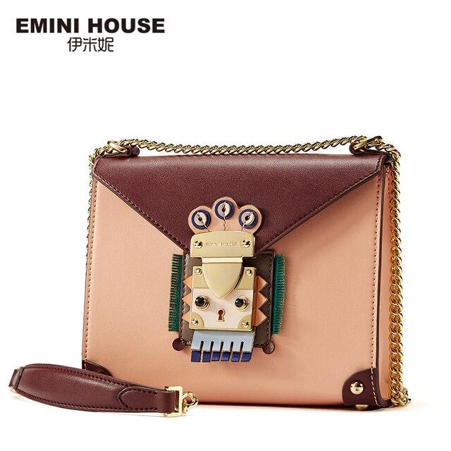 Эмини дом индийский Стиль клапаном сумка оригинал цепи сумка Разделение кожа Для женщин Курьерские сумки Сумки через плечо для Для женщин плеча
