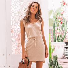 Sexy V-Neck Solid Dress For Women Short Sheath Sleeveless Backless Female Dress 2019 Summer Style Fashion Casual Beach Clothing цена