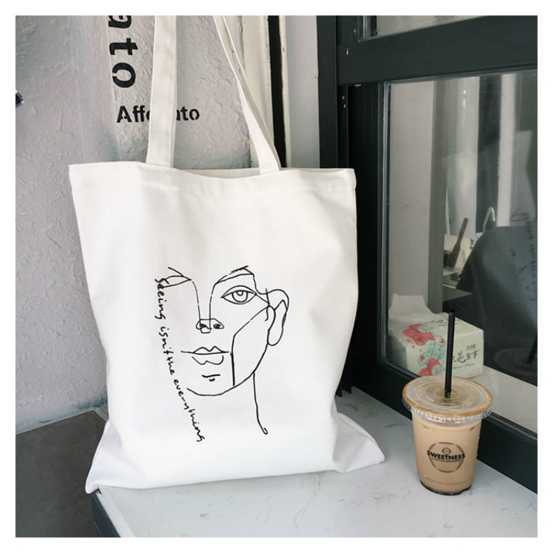 Simple Simple Casual String Printing Canvas Tote Shopping Bag Eco Large Capacity Women Handbag Shoulder Bags