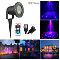 12 Patterns Red Blue Outdoor Waterproof RB Laser Christmas Star Projector Light Wireless Remote Control For Christmas, Garden