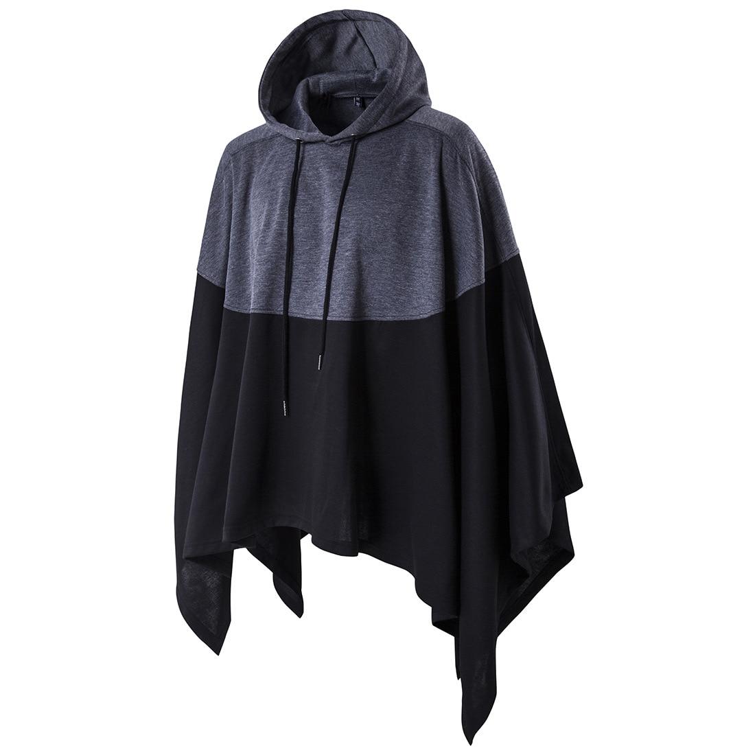 Men Hooded Hip Hop Mantle Hoodies Long Sleeves Cloak Man's Coats Outwear Autumn Cape Hooded Windbreaker Men's Cape Large Size