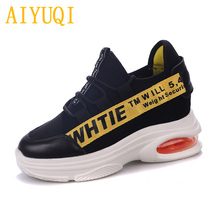 AIYUQI  Women sneakers platform 2019 spring new cowhide+ mesh women casual shoes flat breathable single footwear