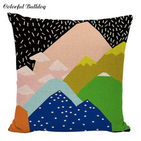 Fashion Colorful Pencil Geometric Swirl Feather Cushion Cover Back To School Pillow Case Sofa Bedroom Home