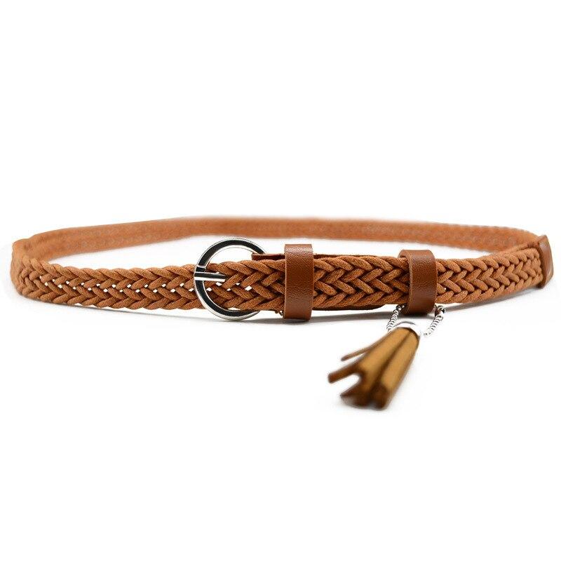 Hot Sale Brand Weaving Tassel Pigskin Leather Thin Female Belt For Women Decoration Dress Coat Cummerbunds Lengt 105cm 1